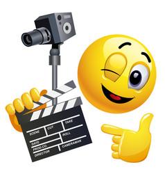 Smiley emoticon like film director smiley is vector