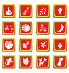 Spice icons set red vector