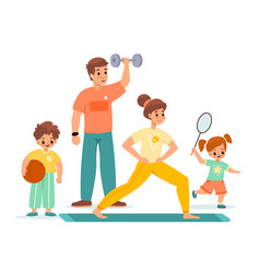 Sport family happy children and parents training vector