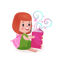 sweet little girl sitting on a pillow and reading vector image