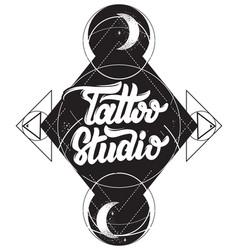 tattoo studio handwritten lettering template vector image