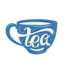 Tea lettering on the cup vector