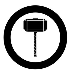 Thors hammer mjolnir icon black color in circle vector
