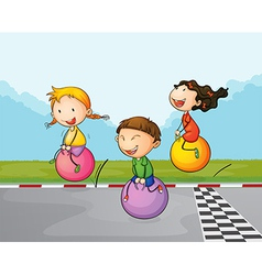 Three kids at the street with their bouncing balls vector