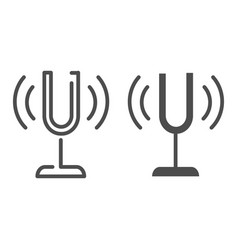 Tuning fork line and glyph icon sound tuner vector