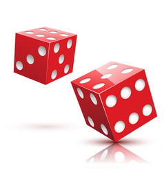two red dices gambling icon vector image