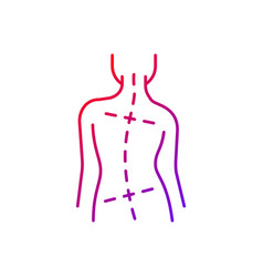 Uneven hips and shoulders gradient linear icon vector