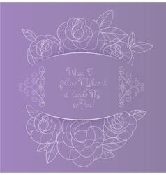 Vintage card roses bouquet romantic quotes vector image