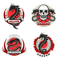 vintage colored tattoo dragon emblems set vector image