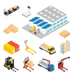 Warehouse Isometric Icon Set vector image