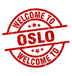 welcome to oslo red stamp vector image