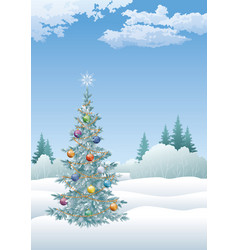 Winter landscape with christmas tree vector