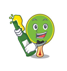 With beer ping pong racket mascot cartoon vector