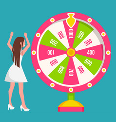 Woman spins fortune wheel gamble game chance vector