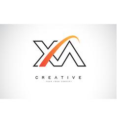 Xa x a swoosh letter logo design with modern vector