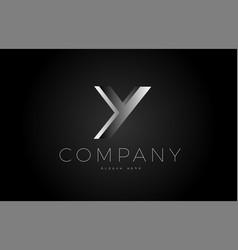 y black white silver letter logo design icon vector image