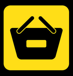 Yellow black sign - shopping basket minus icon vector