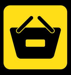 Yellow black sign - shopping basket minus icon vector