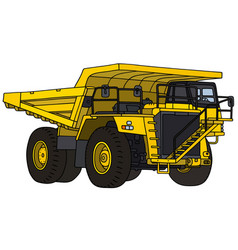 Yellow mining dump truck vector