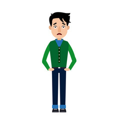 Young man in jeans standing posing isolated vector
