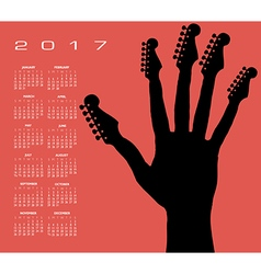 2017 guitar hand calendar vector image