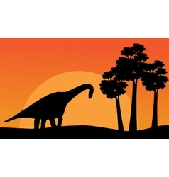 Beautiful scenery dinosaur brachiosaurus of vector image vector image