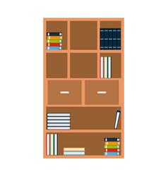 bookshelf books encyclopedia furniture wooden vector image