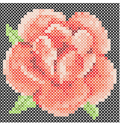 cross stitch red rose vector image vector image