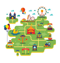 family fun amusement park map vector image vector image