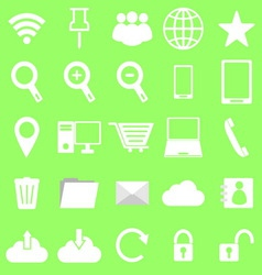 Internet icons on green background vector image vector image