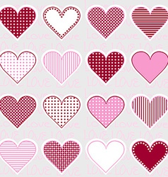 Love background with heart frames on pink pattern vector image vector image