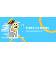 online taxi booking banner phone with hat and map vector image vector image