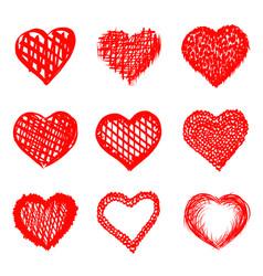 sketch of hand drawn hearts set vector image