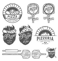 Vintage pizzeria labels badges design elements vector