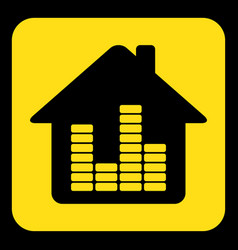 Yellow black sign - house with equalizer icon vector