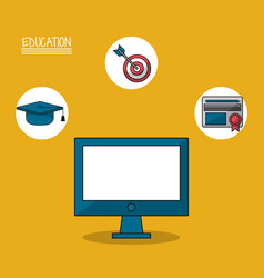 colorful poster of education with computer in vector image vector image