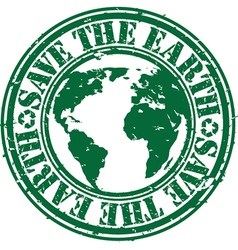 Save the planet stamp vector image
