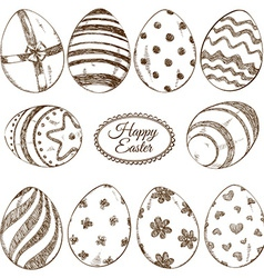 Set of sketch Easter eggs icons vector image vector image