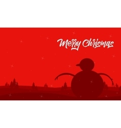 Silhouette of snowman on red backgrounds vector