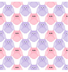 cute pink and violet owls vector image vector image