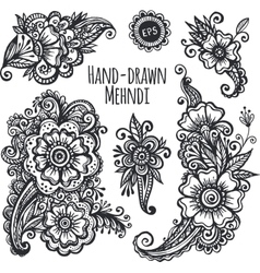 Hand-drawn mehendi flowers set vector image