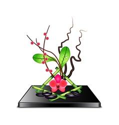 Ikebana isolated on white vector image
