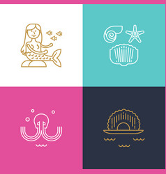sea travel icons vector image