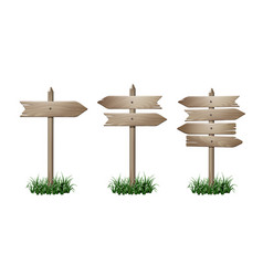 set of wooden signpost vector image vector image