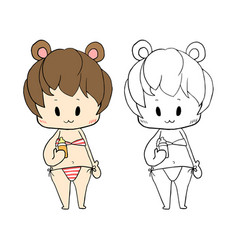 cute girl in swimsuit - baby vector image