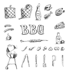 Doodle set of barbecue and grill elements vector image
