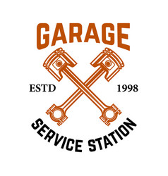 garage service station emblem with crossed vector image vector image
