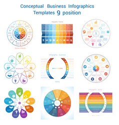 set infographics conceptual cyclic processes nine vector image