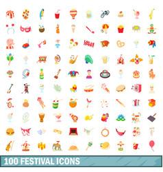 100 festival icons set cartoon style vector image