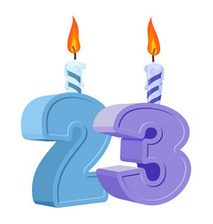 23 years birthday number with festive candle for vector image